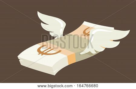 Flying stack of euro banknotes, winged european currency in flat vector cartoon style