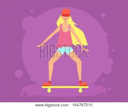 Young woman riding on a skateboard. Vector illustration