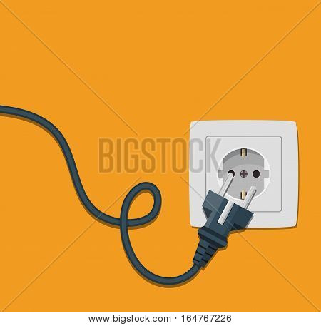 Electricity plug and socket on orange background. Vector illustration in flat style.
