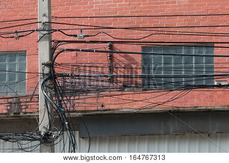 electrica power line & communications line in city