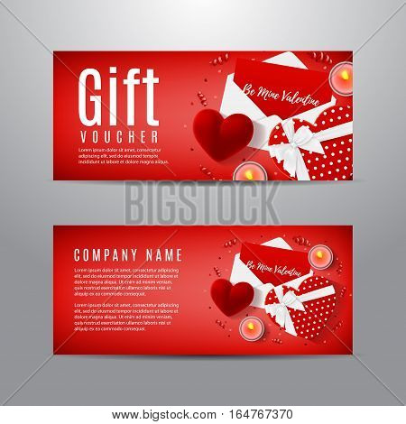 Gift voucher for Valentine's Day. Unusual design of coupon usable for invitation and ticket. Top view on gift box, red case for ring, candles, confetti and serpentine.