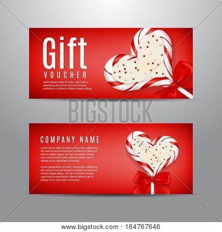 Valentine's Day gift voucher. Unusual design of coupon usable for invitation and ticket. Vector illustration with lollipop in the form of heart.