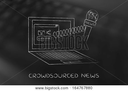 Microphone Out Of Laptop Screen With Sharing Icons, Crowdsourced News