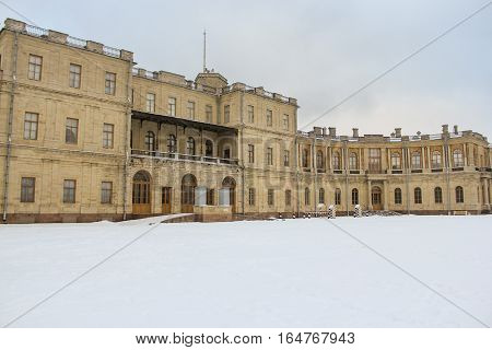 Gatchina, Russia - 3 December, The left wing of the Gatchina Palace, 3 December, 2016. Visit the Museum Reserve Gatchina Palace.