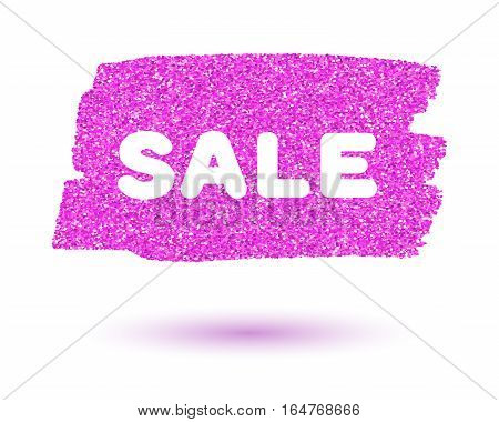 Pink sparkling brush strokes isolated on white background for sale and promo advertising
