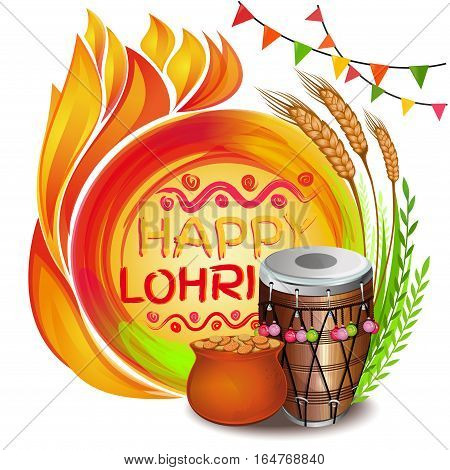 Colorful background for Punjabi festival with decorated drum (Dhol), lohri celebration bonfire, pot, wheat and greeting inscription - Happy Lohri. Vector illustration