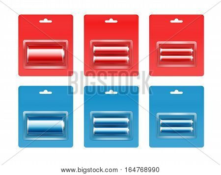Vector Set of Red Blue Cyan Glossy Alkaline AA, AAA, C Batteries in Red Blue Blister Packed for branding Close up Isolated on White Background