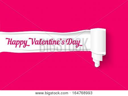 Valentines day background. Realistic vector torn paper strip with roll and space for text