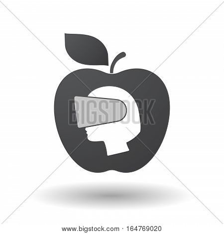 Isolated Apple With  A Female Head Wearing A Virtual Reality Headset