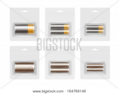 Vector Set of Black Yellow Golden Brown Glossy Alkaline AA, AAA, C Batteries in Transparent Blister Packed for branding Close up Isolated on White Background