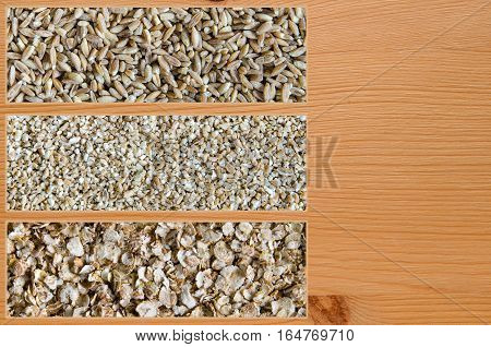 Collage consisting of spelt and cut wheat and wheat flakes. Food background. Healthy lifestyle concept. Closeup macro shot.