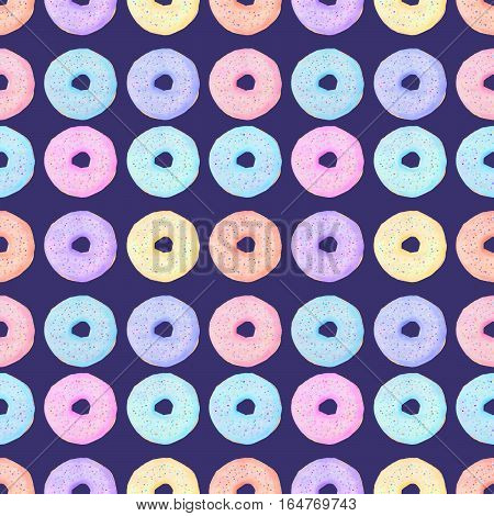 Doughnut illustration. Seamless pattern with hand drawn colourful glazed donut - isolated sweets on the dark background. Real watercolor drawing