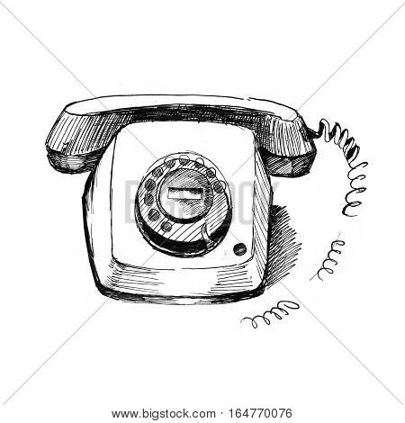 Old telephone. Vintage style, hand drawn, pen and ink. Retro handcrafted phone design element