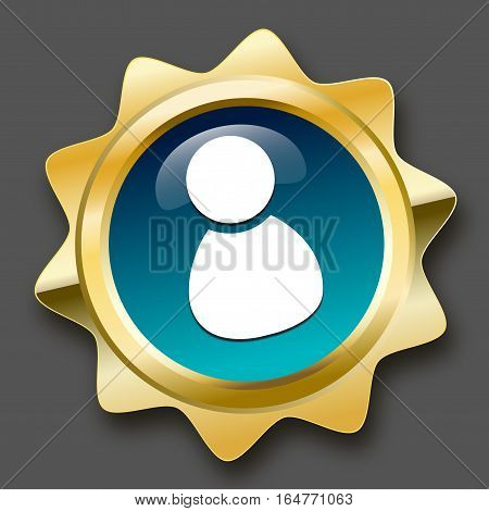 Best service seal or icon with admin or person symbol. Glossy golden seal or button with stars and turquoise color.