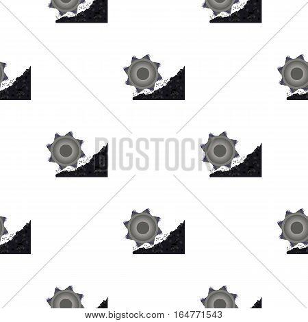Bucket-wheel excavator icon in cartoon style isolated on white background. Mine pattern vector illustration.