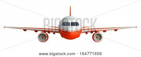 White And Red Airplane 3D Rendering On White Background