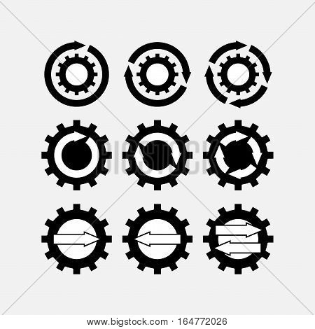 icons gear, tuning mechanisms, motion, fully editable vector image