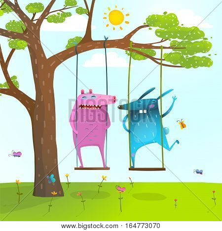 Colorful happy childish monsters creatures playing under the tree on the lawn. Vector illustration.