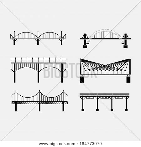 set of silhouette bridge icons bridges, suspension bridges, various types of bridges, fully editable vector images