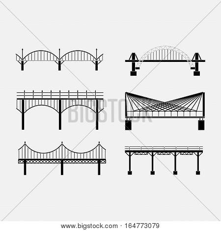 set of silhouette bridge icons bridges, suspension bridges, various types of bridges, fully editable vector images
