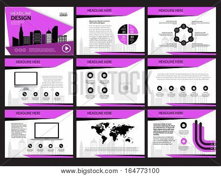 Business Template design set Presentation and brochure Annual report flyer page with infographic element