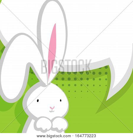 Comic bubble, empty balloon. Green halftone background. White cute rabbit with big ears pink nose, congratulates Easter, Birthday or other holiday. Vector festive hand drawn illustration.