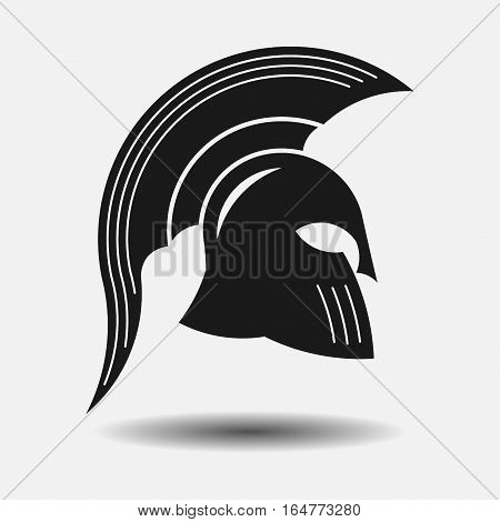 icon spartan helmet, silhouette greek warrior, gladiator, legionnaire, heroic soldier, fully editable vector image