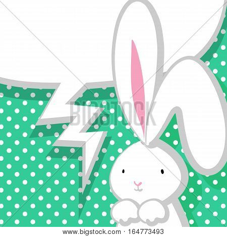 White cute rabbit with big ears pink nose, congratulates Easter, Birthday or other holiday. Vector festive hand drawn illustration. Comic bubble, empty balloon. Aquamarine halftone background.
