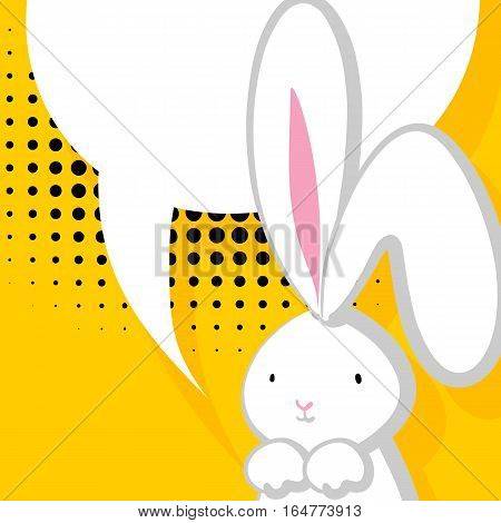 Vector festive hand drawn illustration. Comic bubble, empty balloon. Yellow halftone background. White cute rabbit with big ears pink nose, congratulates Easter, Birthday or other holiday.