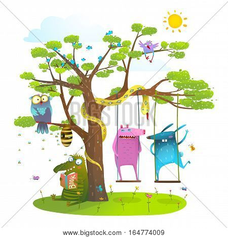 Colorful happy childish monsters creatures and owl, reading swinging under the tree on the lawn. Vector illustration.