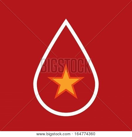 Isolated Blood Drop With  The Red Star Of Communism Icon