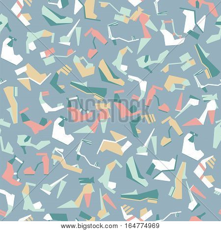 Seamless vector illustration with beautiful heels and shoes pattern with geometric shapes. Pastel colors on light blue background. Pink white teal and beige women shoes in geometric style.