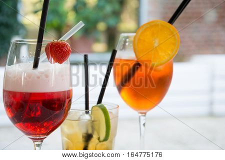 Three Colored Fruit Cocktails