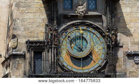 Ancient astronomical clock in Prague, Czech Republic.