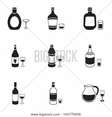 Alcohol set icons in black style. Big collection of alcohol vector symbol stock