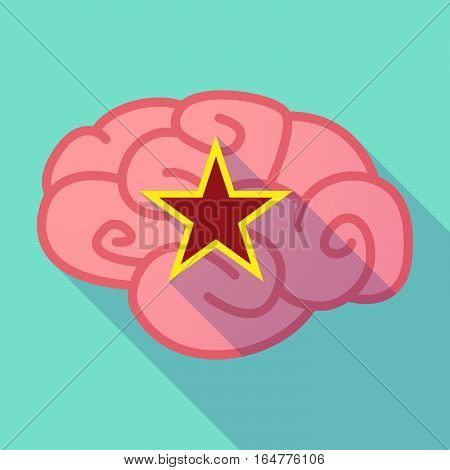Long Shadow Brain With  The Red Star Of Communism Icon