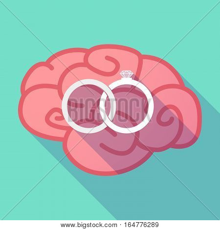 Long Shadow Brain With  Two Bonded Wedding Rings