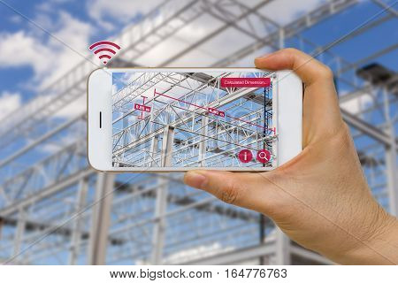 Augmented reality in construction industry concept application for measuring dimension of steel structure.