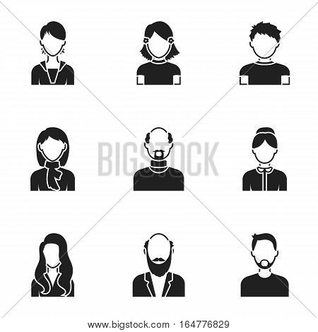 Avatar set icons in black style. Big collection of avatar vector symbol stock