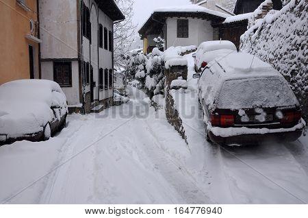 VELIKO TARNOVO BULGARIA - JANUARY 6 2017: General Gurko street on the winter day