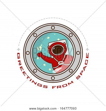logo greeting from space astronaut in outer space. Vector white background