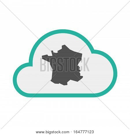 Isolated Cloud With  The Map Of France