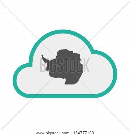 Isolated Cloud With  The Map Of  Antarctica