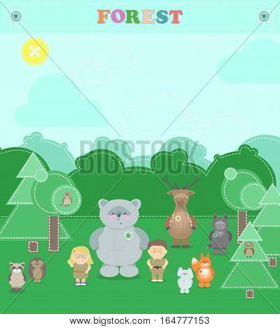 Animals of the forest. Other plush animals in the forest a boy and a girl. Vector cartoon