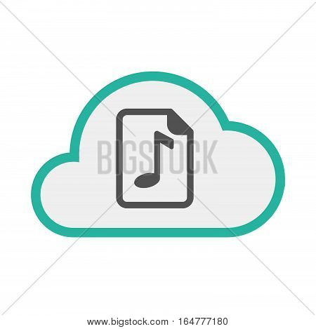 Isolated Cloud With  A Music Score Icon
