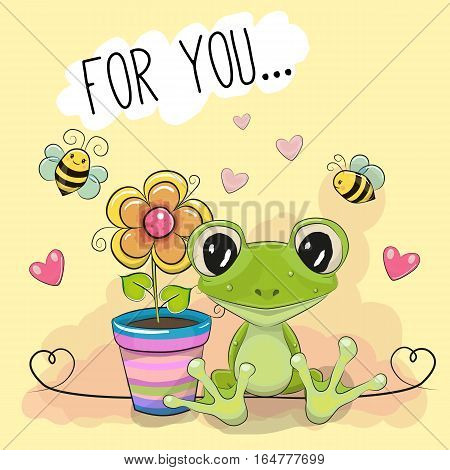 Greeting card cute cartoon Frog with flower on a yellow background