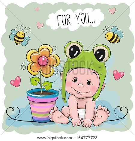 Cute Cartoon Baby in a froggy with flower