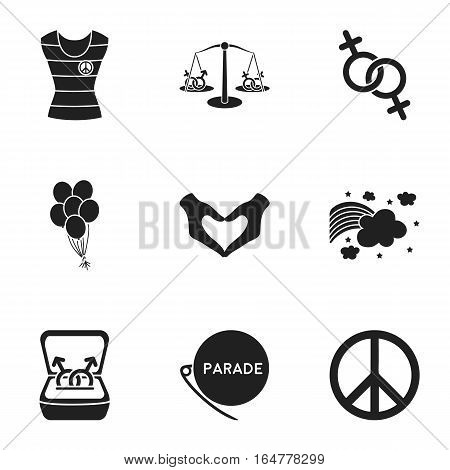 Gay set icons in black style. Big collection of gay vector symbol stock