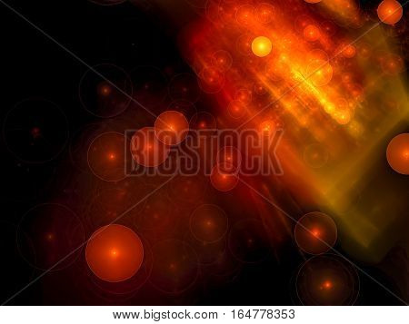 Blurred background - bright orange design with chaos bubbles in a dark. Abstract computer-generated image - futuristic graphic. Technology backdrop for covers and posters.