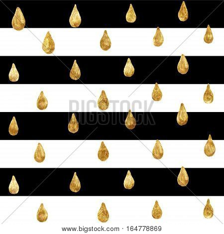 Gold glittering drops hand-drawn with golden paint. Seamless pattern on striped black and white background. Shiny holidays background. Golden glitter pattern. Gold metal foil background.